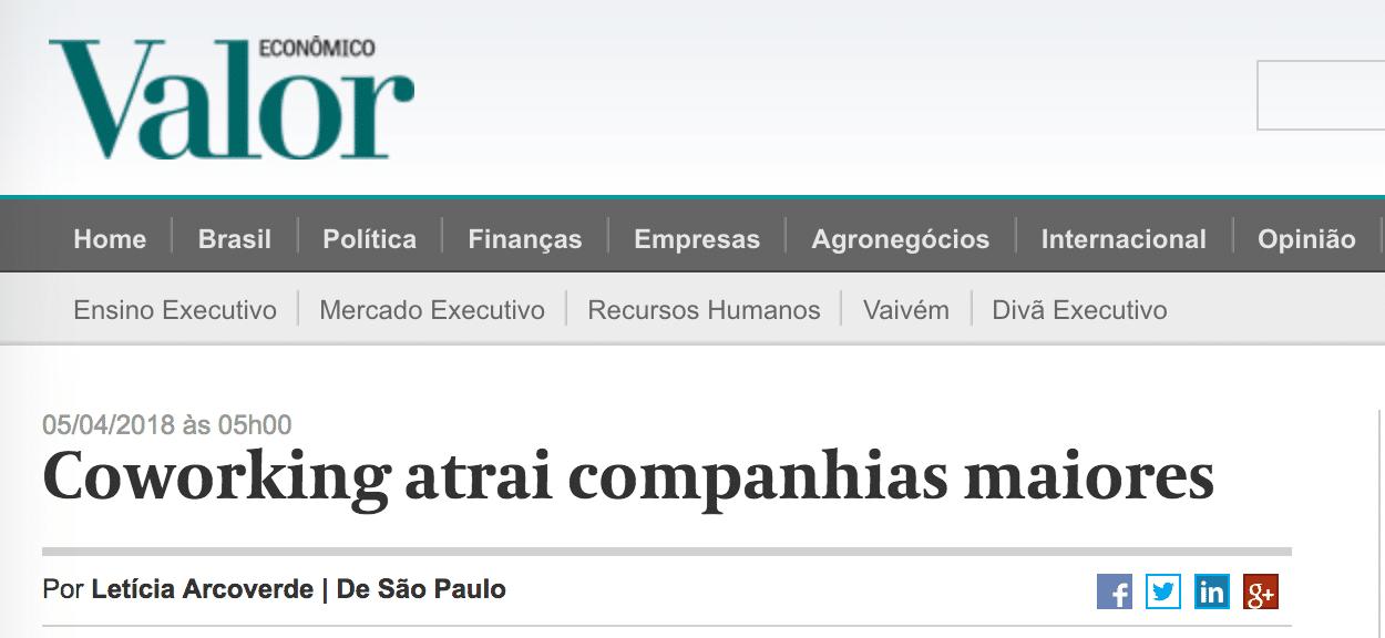 Coworking atrai companhias maiores por VALOR ECONÔMICO
